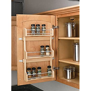 Rev-A-Shelf - 4SR-18 - Medium Cabinet Door Mount Wood 3-Shelf Spice Rack