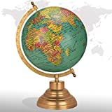 Desktop Rotating Globe Georgraphy World Map Teal Green 8'' Inches Metal Base Educational Globe Office Table Topper