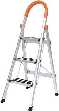 soges Escalera de aluminio plegable de 3 pasos Escalera de cocina plegable con pasos antideslizantes, JF-003: Amazon.es: Bricolaje y herramientas