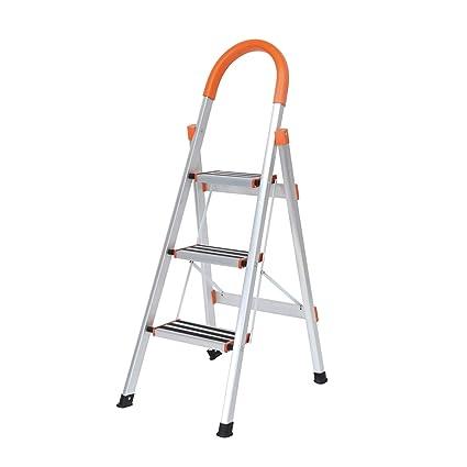 Carrito de mano plegable y escalera de 2 pelda/ños multiusos para equipaje y escalera DlandHome