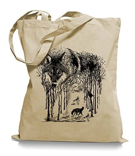 Ma2ca® Wolf Forrest - Jutebeutel Stoffbeutel Tragetasche / Bag WM101 Sand