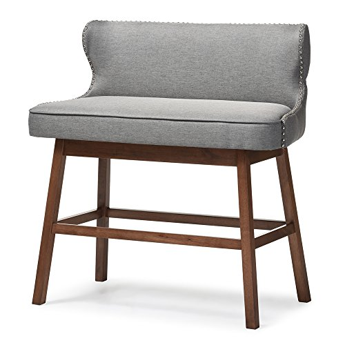 Baxton Studio Gradisca Modern & Contemporary Fabric Button-Tufted Upholstered Banquette Bar Bench, Grey (Banquette Seating In Kitchen)