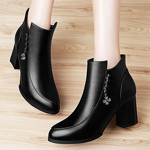 Round Decorative Zipper Metal Side Ankle Lady's Boots Head Women's Black Boots 6BSx1qRa