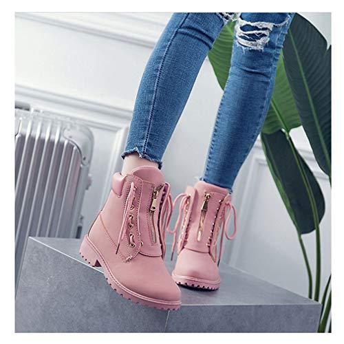 Forradas para de Moda Botas Planas Cuero Piel Boots Impermeables Martin Invierno Rosa Nieve Calientes Mujer Botines Zapatos Mujer vZZxqwC