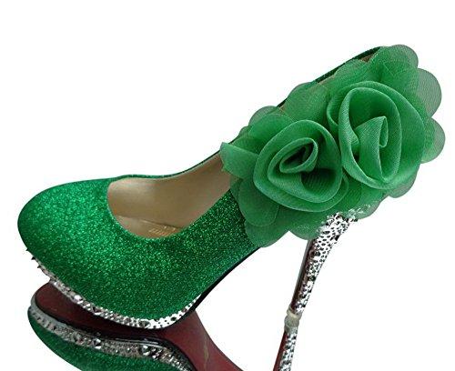 Tonda Alto con Di Punta Ballerine Donna Tacco AgooLar Ff 2 Fiori Verde Composizione 1xYwqIBOE