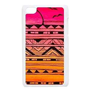 Aztec Colorful Pattern Bohemian Style Seagull and the Sunset Gradient Design Custom Cover Case For IPod touch4(White) with Best Plastic