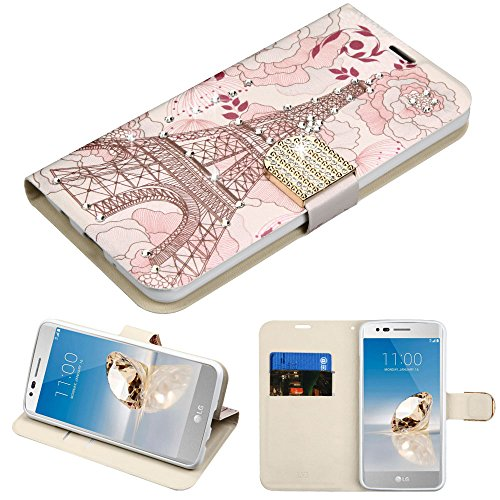 Case+Pink_Stylus PU Leather Purse Clutch Pouch Wallet Fits LG L58VL Rebel 2/K4 2017/M153 Fortune/K8 2017/MS210 LV3/Aristo/M150 Phoenix 3/PP2/M210/V3 MyJacket Eiffel Tower Rhinestone/Diamante Belt ()