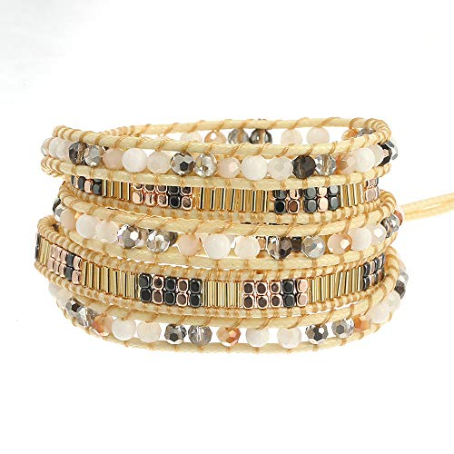 IUNIQUEEN New Creative Dazzling Natural Stone Crystal Bead Statement Bracelet Collection (Blue Crystal&Silver)