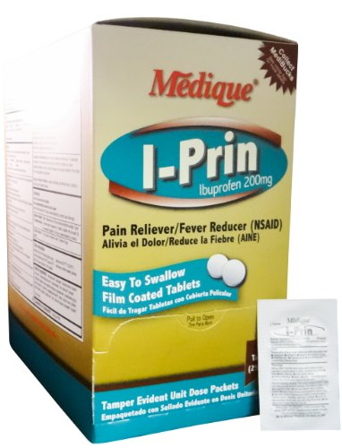 I-Prin Pain Relief Tablets Ibuprofen 250 mg. (500 Tab. Per Box) 6 Boxes (3000 tablets) by Medique - MS71165 by Medique