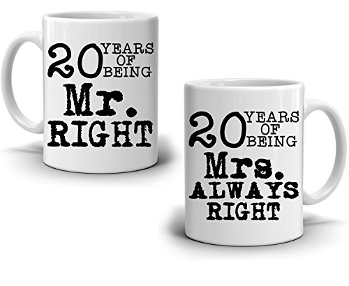 """Personalized """" Number of Years """" Wedding Anniversary Couples Gift Coffee Mug , Romantic Present for Husband and Wife This Valentines Day , Set of 2 Cups"""