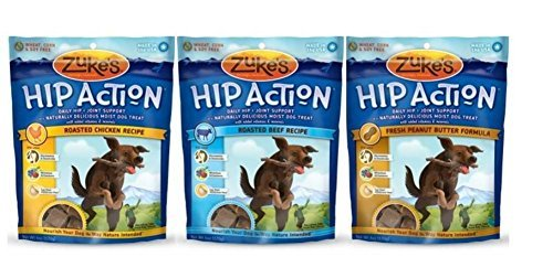 Zuke's Hip Action Daily Hip & Joint Support Moist Treats For Dogs 3 Flavor Variety Bundle: (1) Zuke's Hip Action Roasted Beef Recipe, (1) Zuke's Hip Action Fresh Peanut Butter Formula, and (1) Zuke's Hip Action Roasted Chicken Recipe, 6 Oz. Ea. (3 Bags Total) (Zukes Hip Action Peanut Butter)