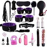JEKEE 19PCS/Set Leather Nylon Plush BSDM Toys for Couples Kit