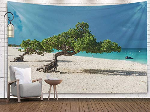 Sertiony Hanging Tapestry Wall Art, Art Map Tapestry Décor 80x60 Inches Beach of Aruba on The Caribbean Sea with Typical Tree White Sand Azure sea in Background for Bedroom Colorful Big Tapestries