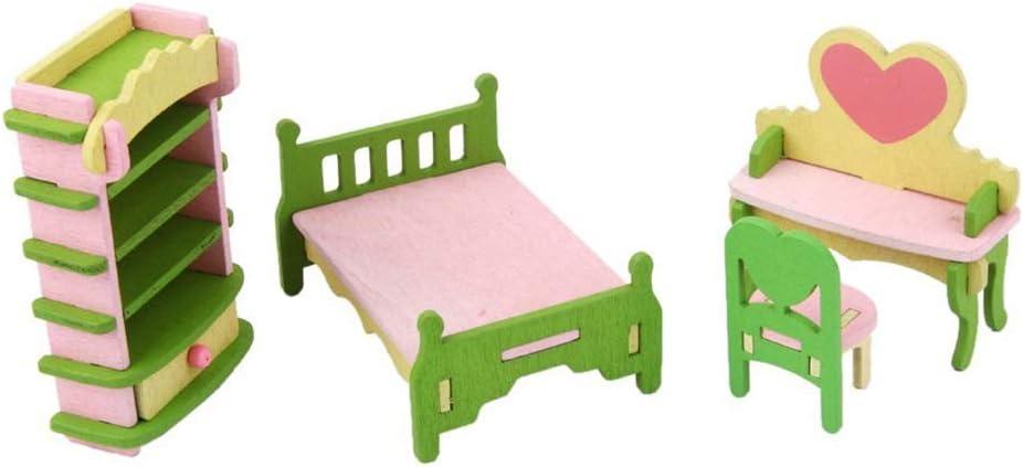 4 St/ück Ouken 1set kreativen Puppenhaus Dekoration-M/öbel-Miniatur-Stuhl Kommode Bett Schuhschrank Exquisite Puppenzimmer Spielzeug