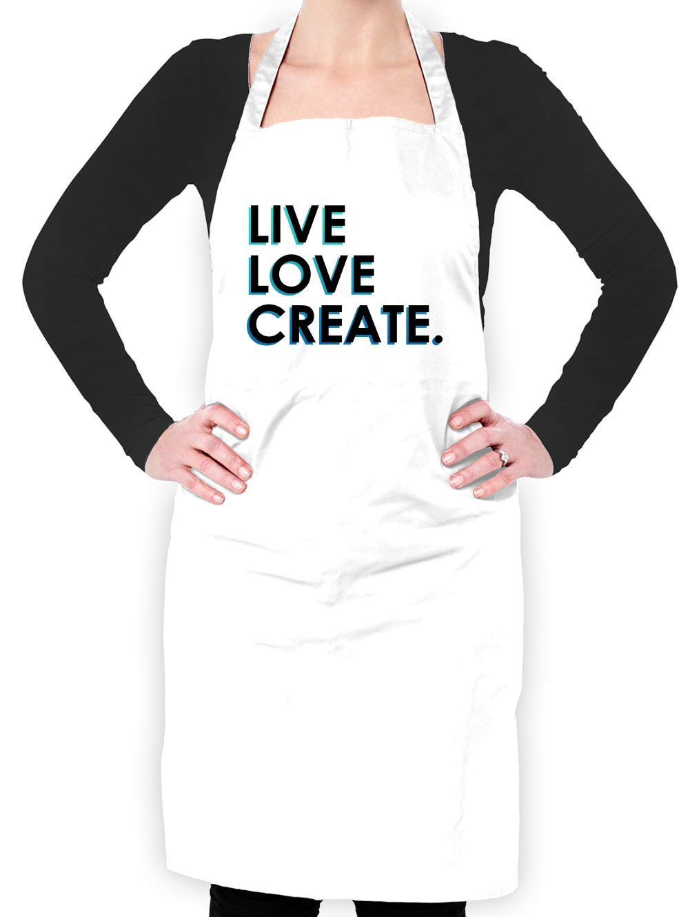 Dressdown Live Love Create - Unisex Adult Apron - White - One Size