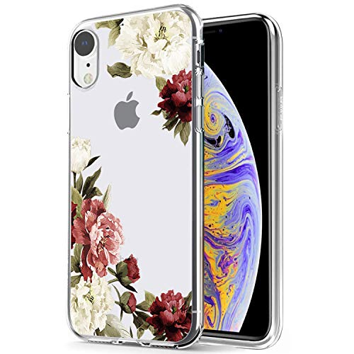 iPhone XR Case, iPhone XR Case with Flowers, Ueokeird Slim Shockproof Clear Floral Pattern Soft Flexible TPU Back Phone Cove for iPhone XR 6.1 (Released in 2018) (Blossom Flower)
