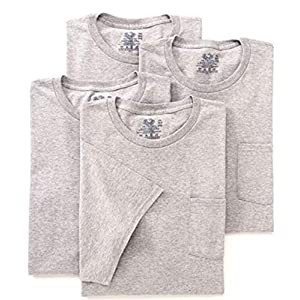 Best Epic Trends 51mKrvC1N2L._SS300_ Fruit of the Loom Mens 4Pack Grey Pocket Crewneck T-Shirts Undershirts 2XL