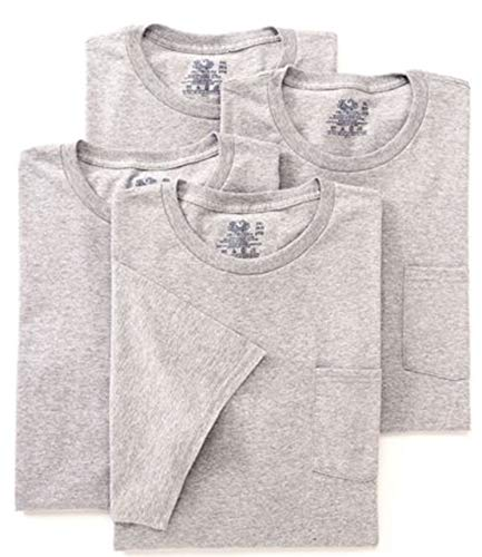 Fruit of the Loom Men's Pocket Crew Neck T-Shirt - XX-Large - Heather Gray (Pack of 4)