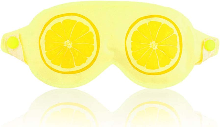 Hilph Ice Eye Mask Cold Eye Mask for Puffy Eyes, Reusable Cooling Gel Eye Mask with Soft Smooth Material for Relaxing Sleep, Hot or Cold Spa, Soothing Dry Eyes, Dark Circles, Migraines - Lemon