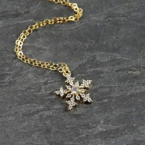 Crystal Snowflake Pendant Gold Filled Necklace Winter Wedding Jewelry - 16
