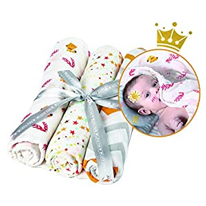 Baby Swaddle Blanket, Soft Silky Receiving Swaddle Wrap for Boys & Girls, Large 47 x 47 inches Baby Shower Gift Registry Essentials Set of 3 (Fox/Star/Wave)