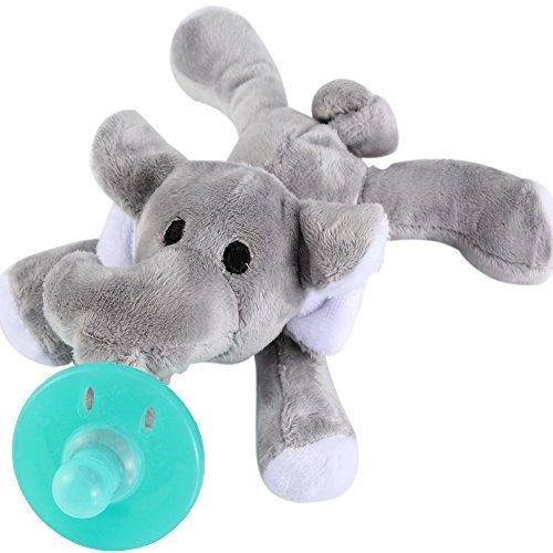 Evedy Infant Pacifier Holder, Baby Toys with Stuffed Elephant Teething Soother for Newborn, Silicone Nipple Feeder for Toddler
