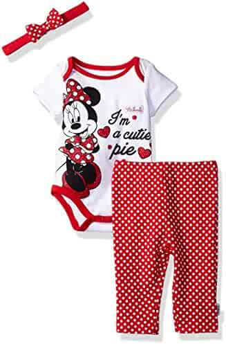 Disney Baby Girls' Minnie Mouse 3-Piece Bodysuit, Pant, and Headband Set