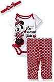 Disney Baby Girls' Minnie Mouse 3-Piece Bodysuit, Pant, and Headband Set, White, 0/3