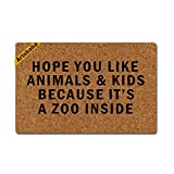 Artsbaba Doormat Personalized Door Mat Hope You Like Animals And Kids Because It's A Zoo Inside Doormat Monogram Non-Slip Doormat Non-woven Fabric Floor Mat Indoor Entrance Rug Decor Mat 23.6'' x 15.7''