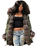 Roiii Women Winter Warm Thick Brown Shade Faux Fur Coat Outdoor Hood Parka Long Jacket Plus Size S M L XL XXL 3XL (Large, Amrygreen)