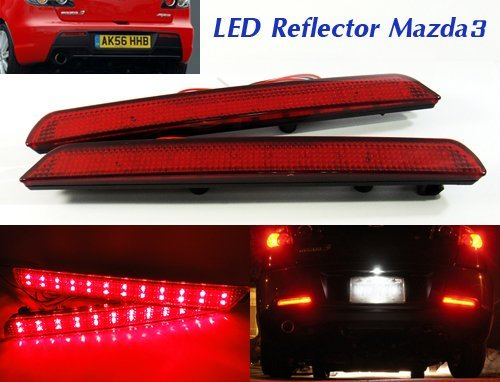 LEDIN Mazda3 Axela BK BN8R-51-5M0B OEM Replacement Red Lens Rear Bumper Reflector LED Tail Brake Stop Light ()