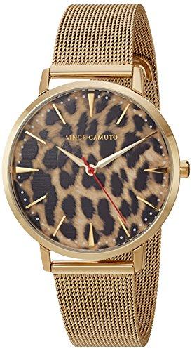 Vince Camuto Women's VC/5344LEGB Leopard Pattern Dial Gold-Tone Mesh Bracelet Watch