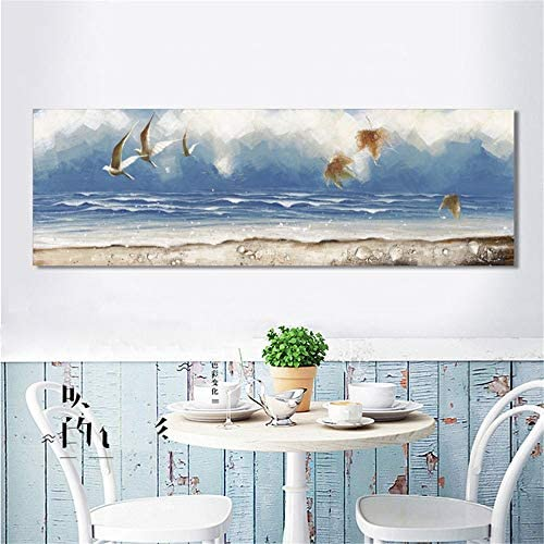現代抽象アート油絵ポスターと版画壁アートキャンバス絵画ビーチ海景写真用リビングルーム家の装飾50×150センチなしフレーム
