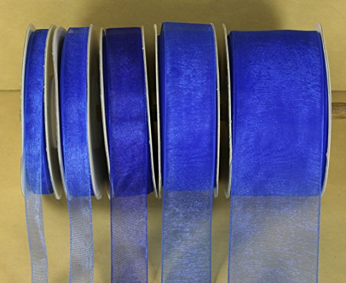 ROYAL BLUE Plain Organza Nylon Ribbon 25 Yards Choose Size 1/4