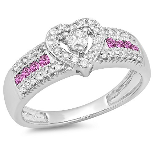 (Dazzlingrock Collection 14K Pink Sapphire & White Diamond Bridal Heart Shaped Promise Engagement Ring, White Gold, Size 7)