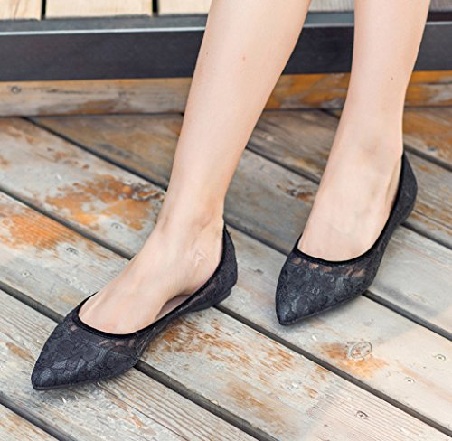 Slip Black for Wedding Lace Shoes CHICKLE 5 On Women's Flats q6wR8x8X
