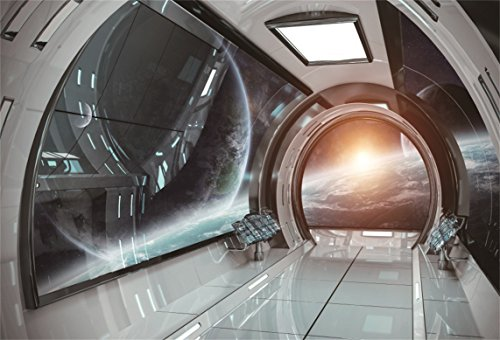 AOFOTO 8x6ft Spaceship Spacecraft Interior Decoration Background Space Station Cabin Photography Backdrop Kid Boy Girl Artistic Portrait Astronomy Universe Galaxy Photo Studio Props Video Wallpaper