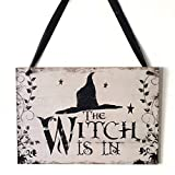 WellieSTR 1 Piece Halloween Party Decoration Supplies The Witch is in Vintage Wooden Plaque Wall Sign Hanging Board Halloween Home Decorations