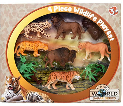 Plastic Animal Figures, 9 Piece Jungle Animal Toys Set of Jumbo Wild Animals, Educational Playset Large Zoo Figurines for Toddlers and Kids - Realistic Looking Safari Animals for Learning Development