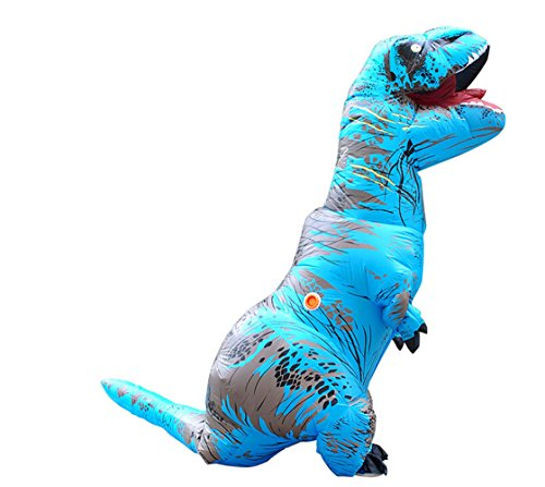 Dinosaur Inflatable Costumes for Adults Blow Up Halloween Funny Dress Blue