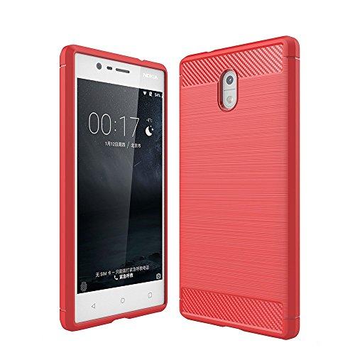 Tuff-Luv Gebürsteter Carbon-Faser-Art TPU schützender shockproof rückseitiger Abdeckungs-Fall für Nokia 3 - Rot