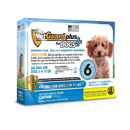 51mKtkzxkjL - VetGuard Plus Flea & Tick Treatment for Small Dogs, 5-15 lbs, 6 Month Supply