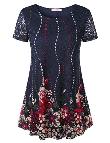 Jubby Floral Blouses, Ladies Round Neck Tunic Top Flowered Pattern Vintage Lightweight Cute Shirts Flared Comfy Running Knit Pullover Tunic Tops For Women XX-Large Navy_t04 Navy Blue Flowered