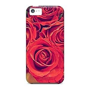 Unique Design Iphone 5c Durable Tpu Case Cover Red Roses Close Up