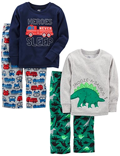 Simple Joys by Carter's Baby Boys' Toddler 4-Piece Pajama Set, Dino/Firetruck, 3T (Embroidered Print Pajama Set)