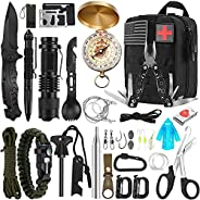 Emergency Survival Kit, 31 in 1 Professional Survival Gear Tool Tactical First Aid Equipment Supplies Kits Gif