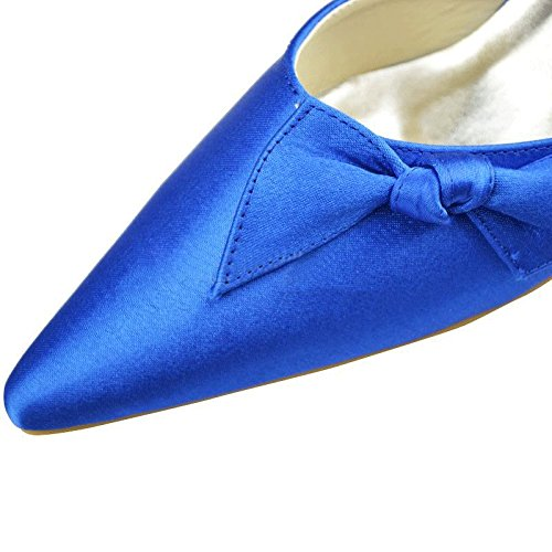 Fashion Prom Women's Satin Pumps Wedding Toe Pointed Kevin Blue Bridal Party MZ1193 Shoes Formal Evening 1qxdEP