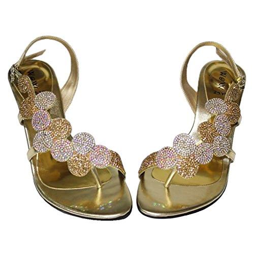 Argento Oro Blu 4 Colore Arancione D'onore Per Matrimonio Evening Verde Motivo Mizra sandali Donna Da oro Rosa amp; 11 Oro Damigella W gw7aq4AAO