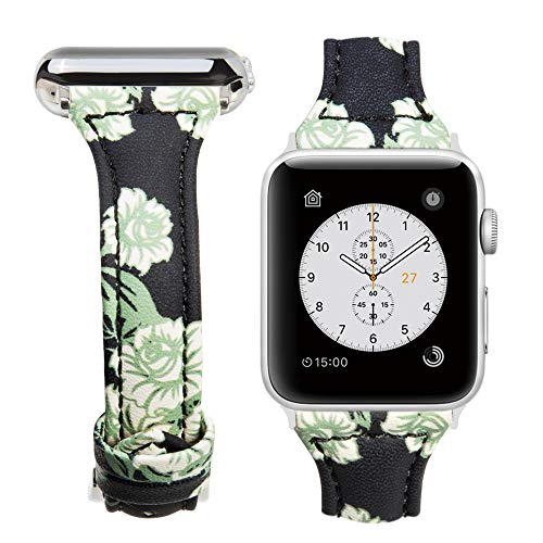 MIFFO For Apple Watch Band 38mm 42mm, Floral Printed Leather iWatch Strap Slim Bracelet Wristband for Apple Watch Series 1, Series 2, Series 3 Sport Edition (Style B, ()