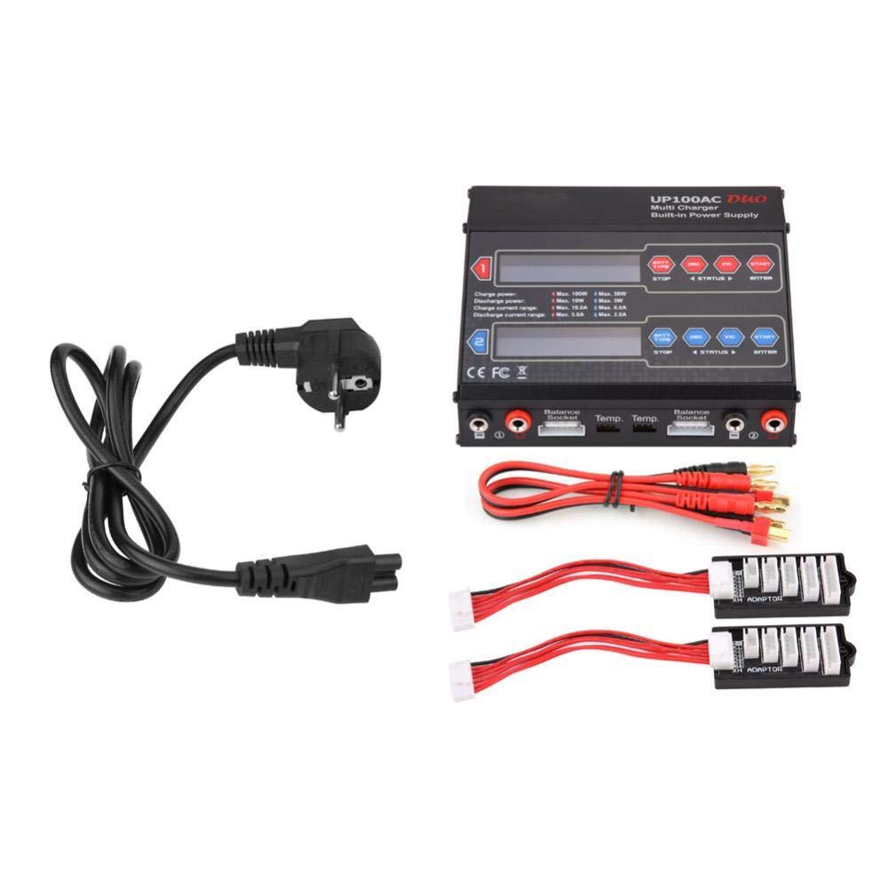 Eu Stecker Dilwe RC Ladegerät, 10A 150W USB Anschluss Balance Ladegerät Entlader mit Netzkabel für RC Batterie(EU Stecker)